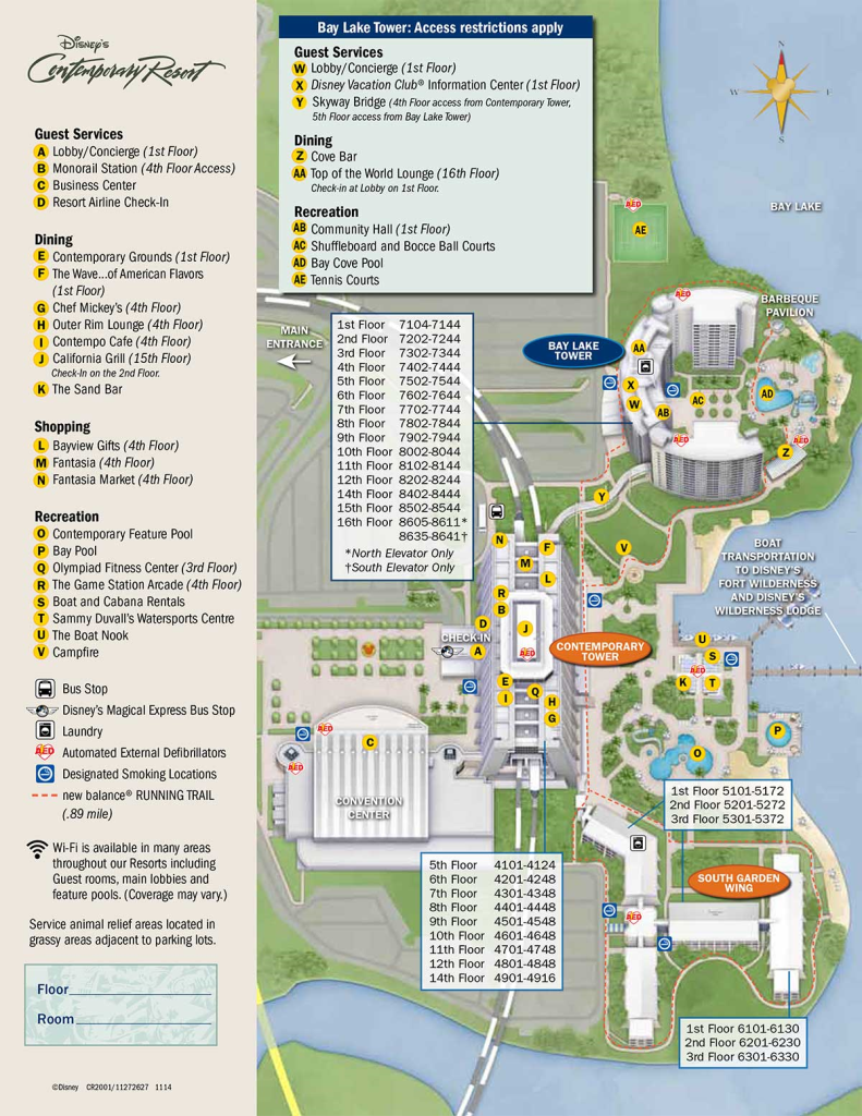 Map of Disney's Contemporary Resort