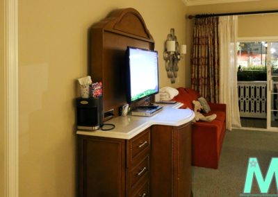 Television, Dresser and Mini Fridge